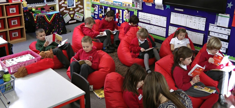 Primary school finds bean bags ideal for reading exercises