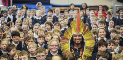 Amazonian tribesman visits Essex primary school