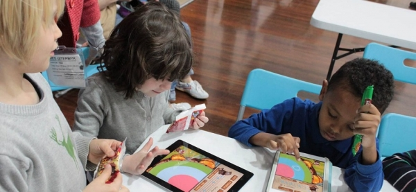 Image courtesy of supplier // Students working with Joko's World interactive learning apps.