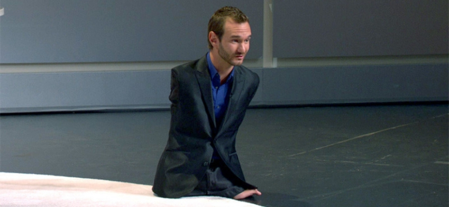 Pictured above; Nick Vuijicic. Image credit: Huffington Post